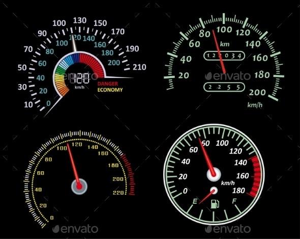 Speedometers Set - Technology Conceptual