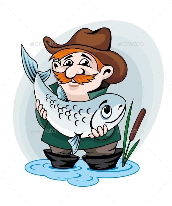 Fisherman Catch a Fish - People Characters