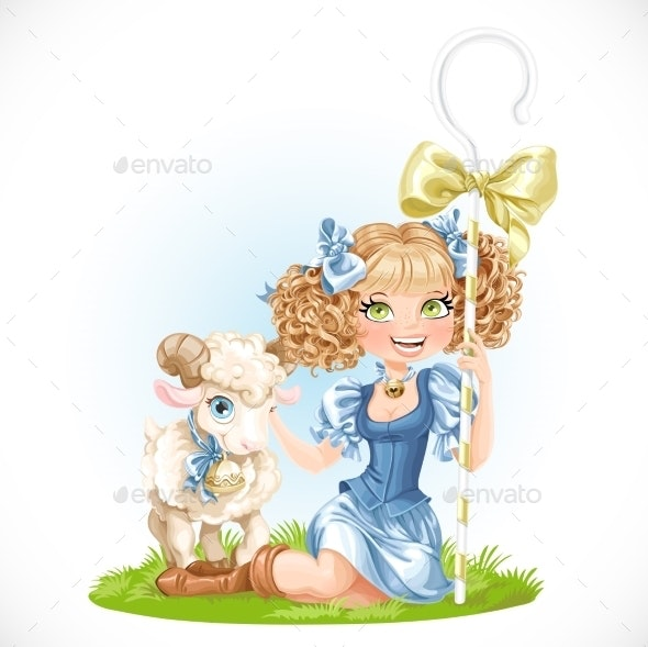 Shepherdess with Lamb - People Characters