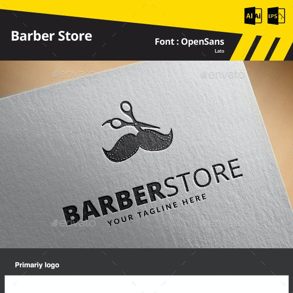 Barber Store Logo Template