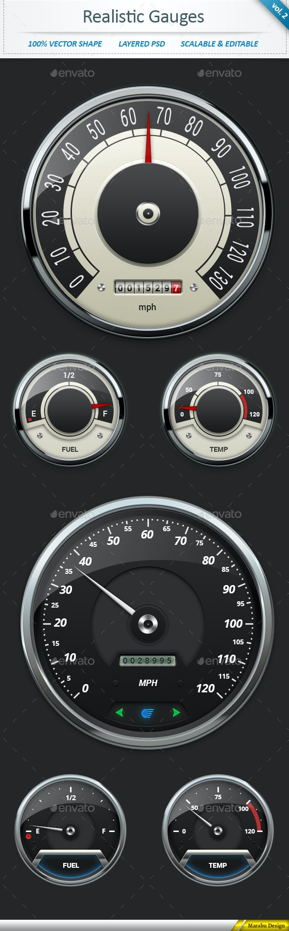 Realistic Car Gauges (vol 2) - Technology Isolated Objects