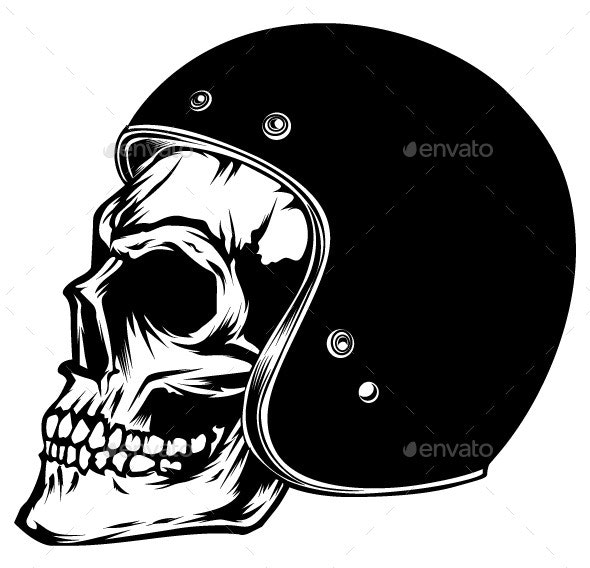 Motorcycle Skull - Tattoos Vectors