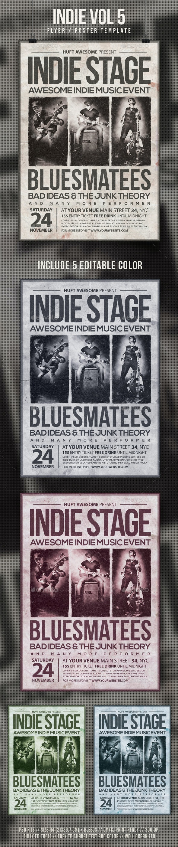Indie Vol 5 Flyer Template - Concerts Events