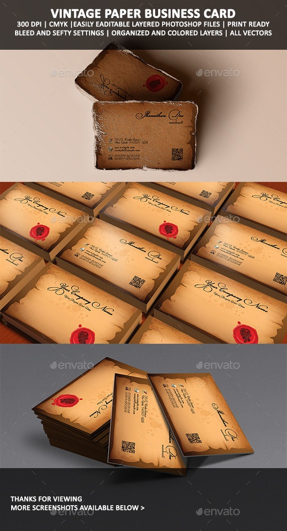 Royal Sealed Vintage Paper Business Card - Business Cards Print Templates