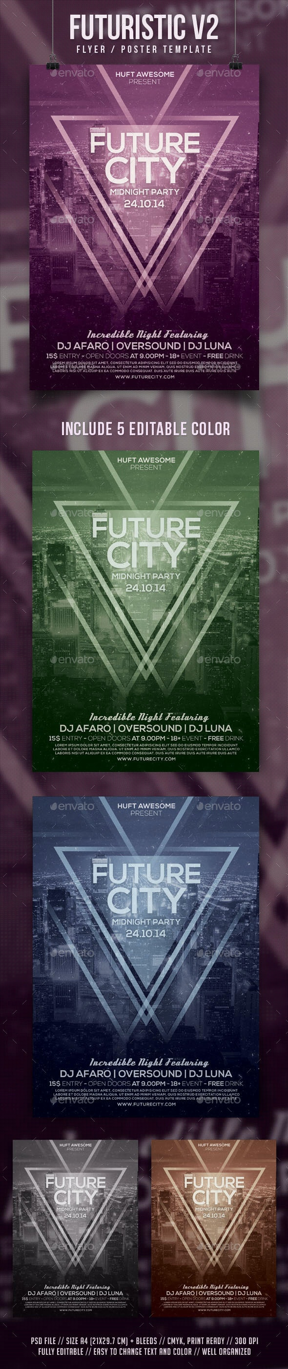 Futuristic V2 Flyer Template - Clubs & Parties Events