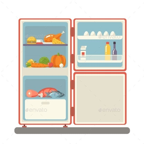 Refrigerator with Food Products