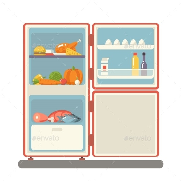 Refrigerator with Food Products - Food Objects
