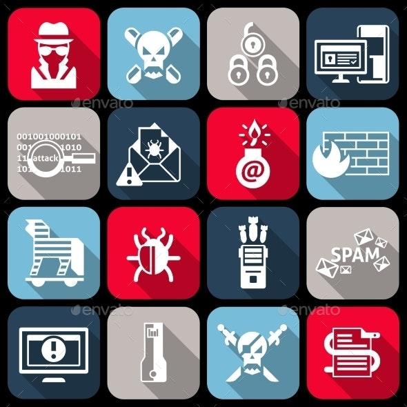 Hacker Icons Set - Web Technology