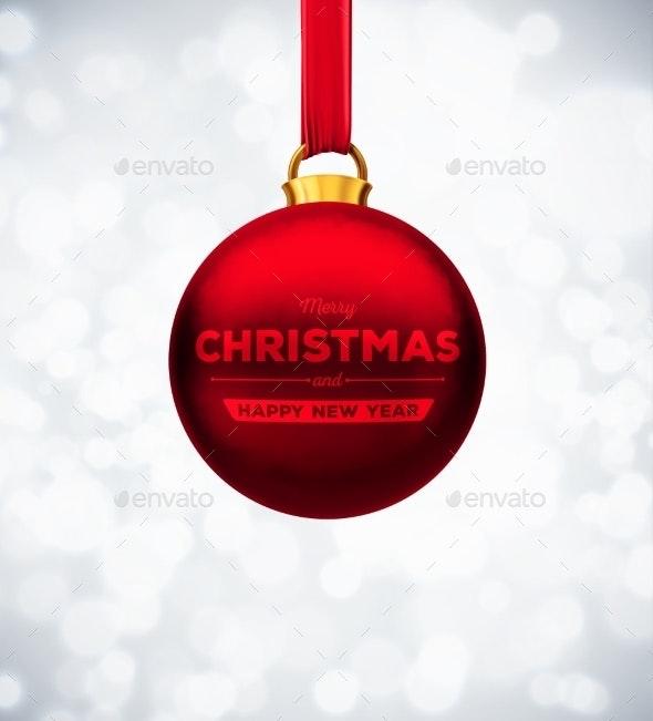 Red Christmas Ball - Christmas Seasons/Holidays