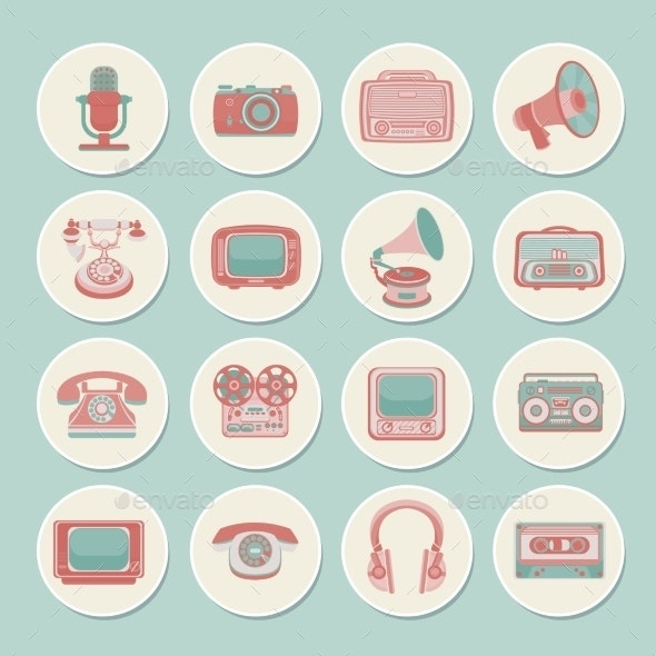 Retro Media Icons - Web Technology