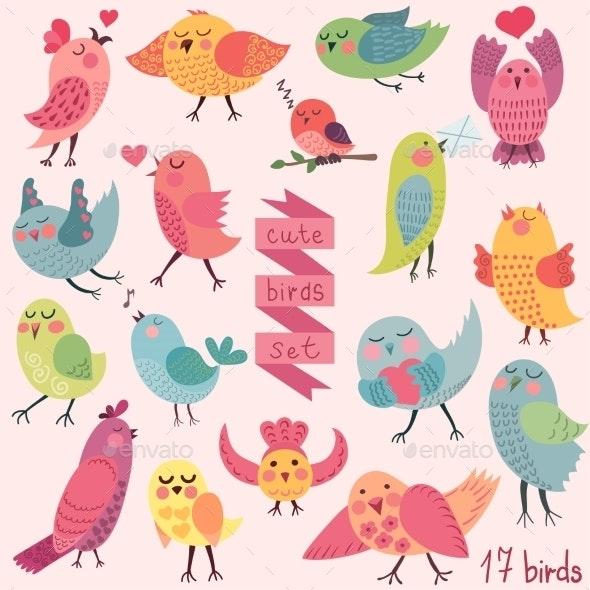 Cartoon Birds Set - Animals Characters