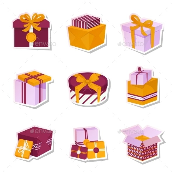 Gift Box Stickers Set - Retail Commercial / Shopping