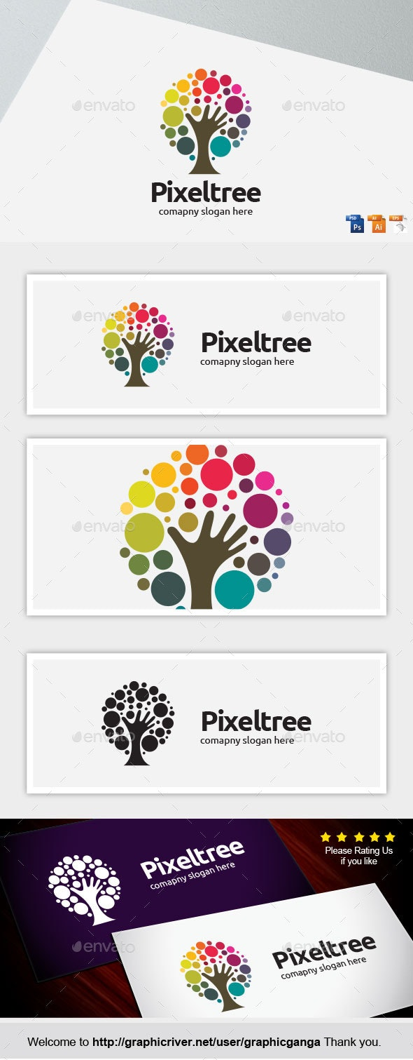 Pixel tree - Abstract Logo Templates