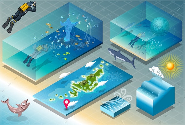 Isometric Tile of Carribean Diving Holidays - Nature Conceptual