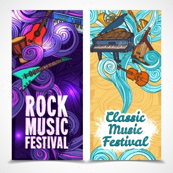 Vertical Music Banners - Borders Decorative