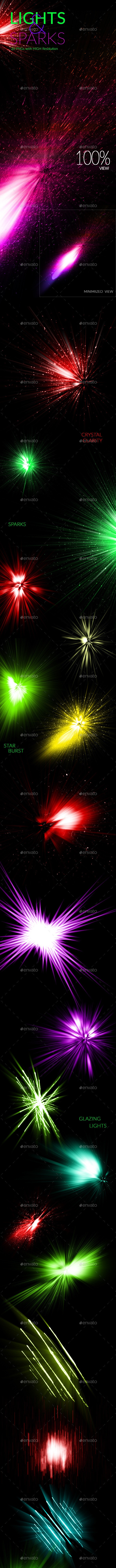 20 Lights & Sparks with Light Effects - Flourishes / Swirls Decorative