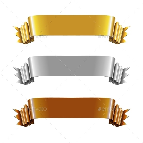 Set of Gold, Silver and Bronze Ribbons - Backgrounds Decorative