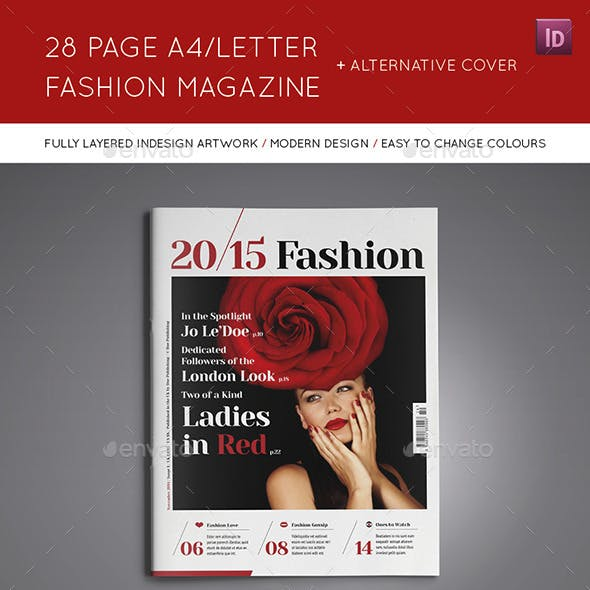 28 Page A4/Letter Fashion Magazine and Extra Cover