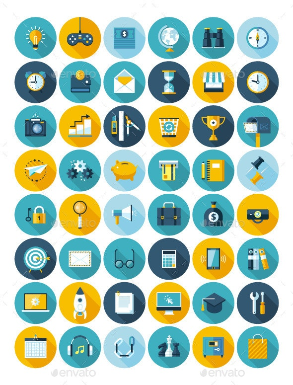 Set of 48 Flat Icons - Business Icons