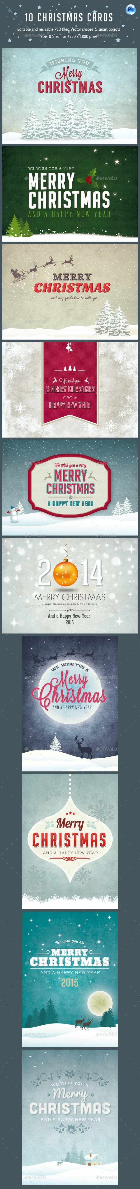 10 Christmas Cards PSD Vol.2 - Cards & Invites Print Templates