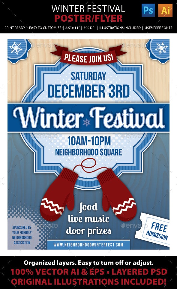 Winter Festival Poster or Flyer - Holidays Events