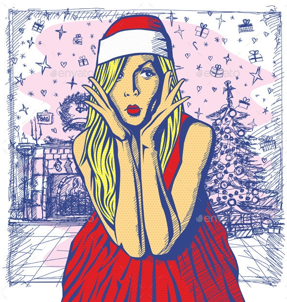 Vector Surprised Blonde in Red Dress - Christmas Seasons/Holidays