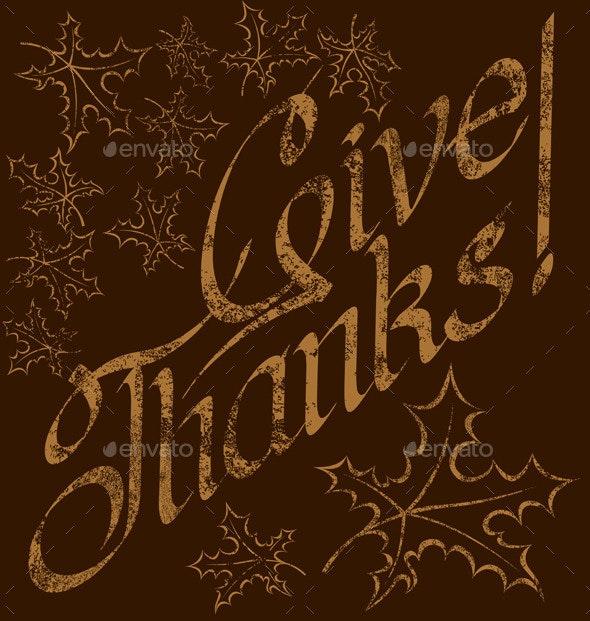 Thanks Giving Text - Seasons/Holidays Conceptual