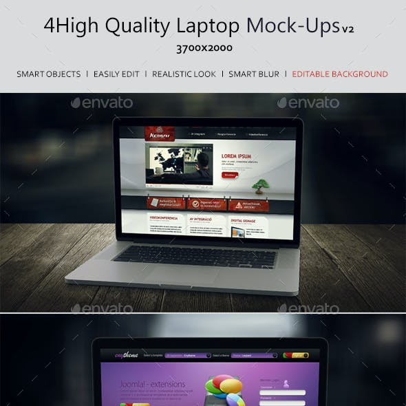 4 Laptop Screen Mockups v3