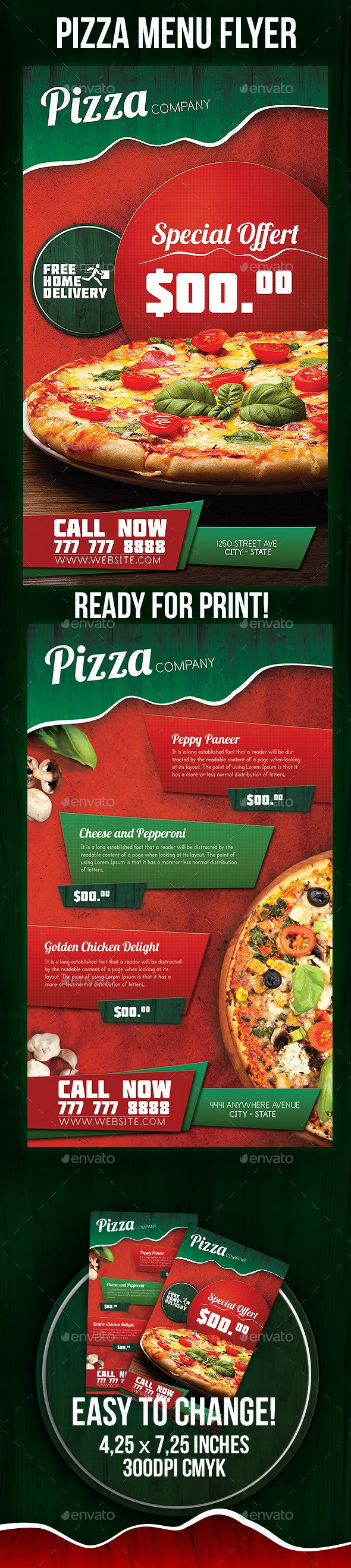Pizza Menu Flyer - Restaurant Flyers
