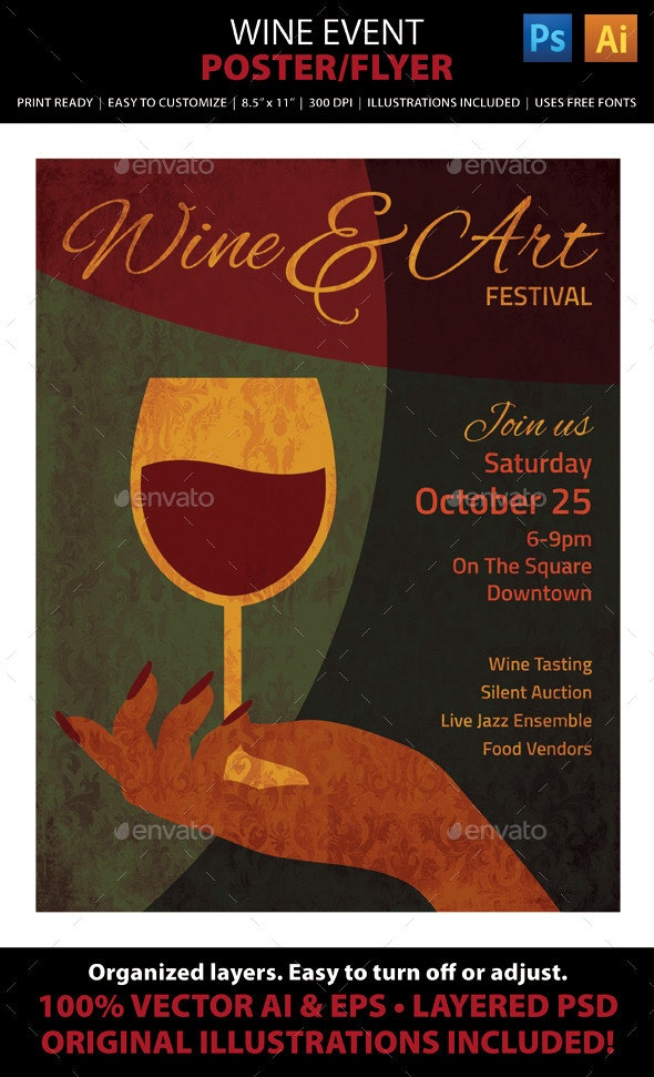 Wine & Art Event Poster or Flyer - Events Flyers