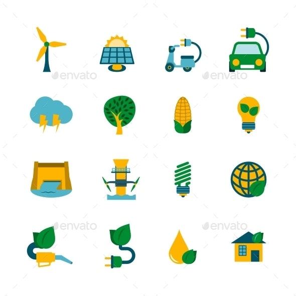 Eco Energy Icons Set - Technology Icons
