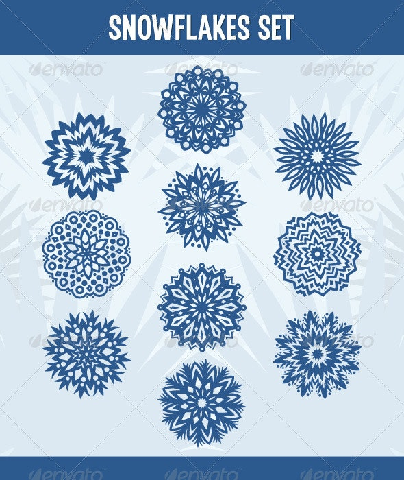 Set of 10 snowflakes - Decorative Symbols Decorative