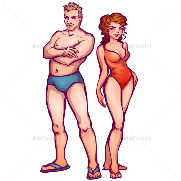 Man and Woman in Swimsuits - People Characters
