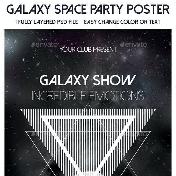 Galaxy Space Party Poster