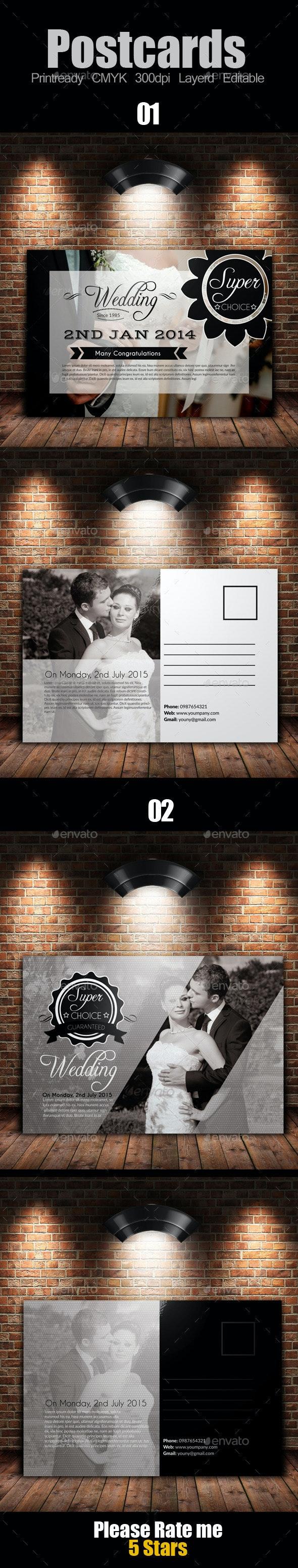 Wedding Invitation Post Card Bundle - Cards & Invites Print Templates