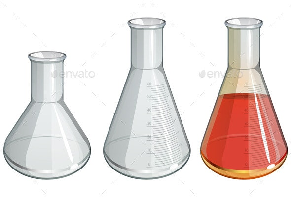 Chemistry Apparatus - Flask Set - Illustration - Man-made Objects Objects
