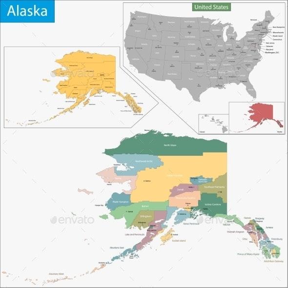 Alaska Map - Travel Conceptual