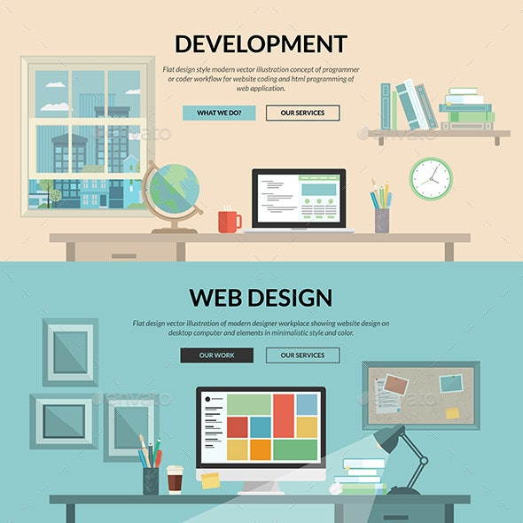 Set of Flat Design Concepts for Web Development - Web Technology
