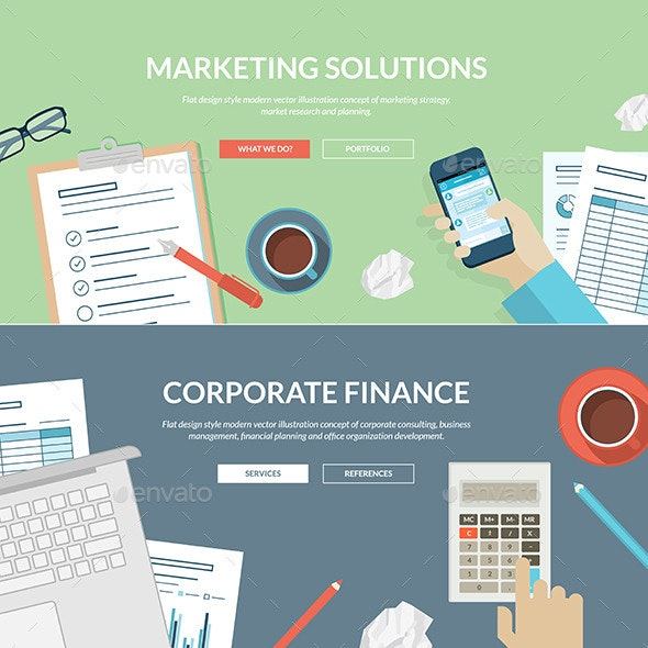 Flat Design Concepts for Marketing and Finance - Business Conceptual