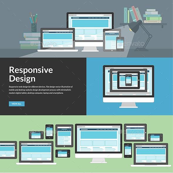 Flat Design Concepts for Responsive Web Design - Technology Conceptual