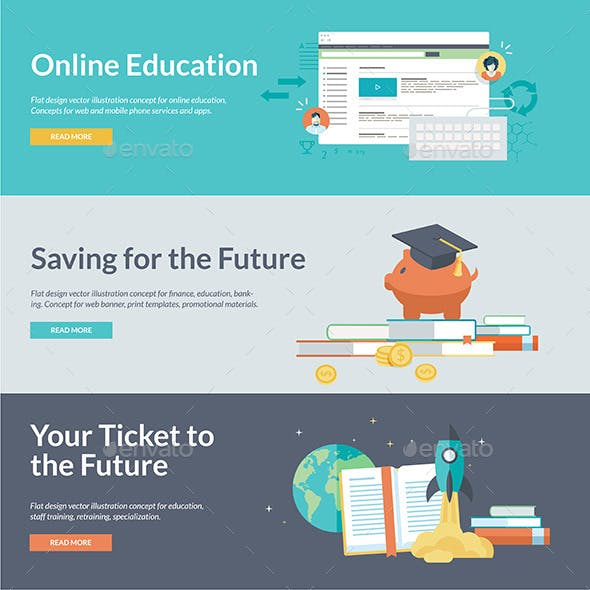 Flat Design Concepts for Online Education