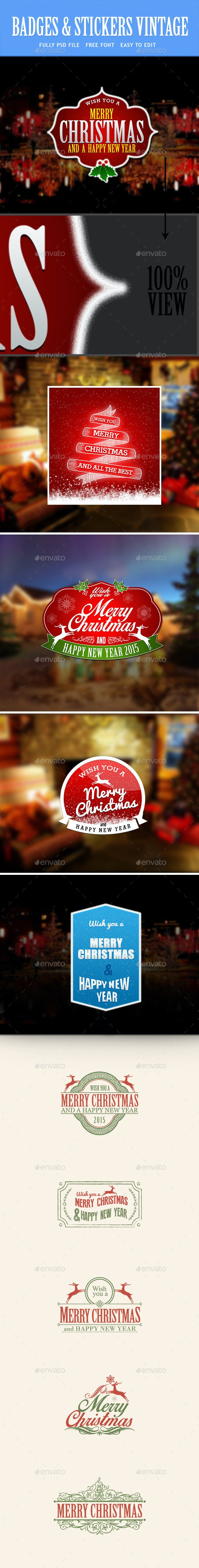 Christmas and New Year - Badges & Stickers Web Elements
