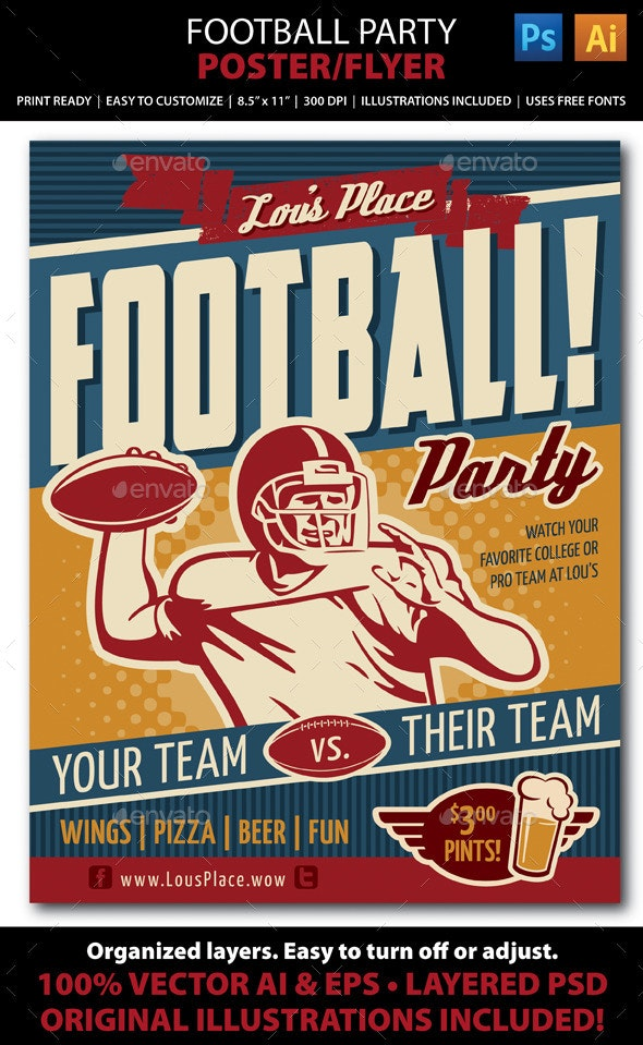 Retro Football Party or Event Poster/Flyer - Sports Events