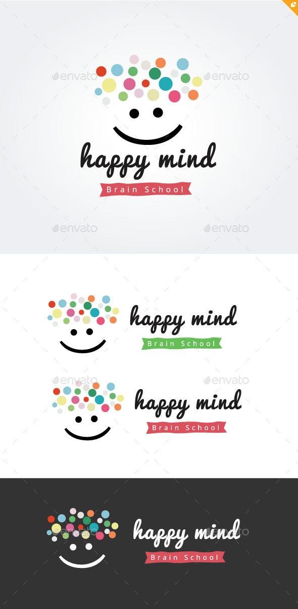 Happy Mind Brain School - Humans Logo Templates