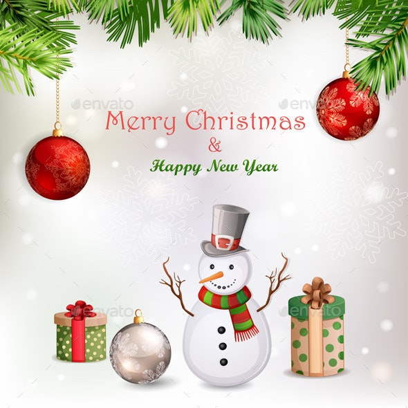 Christmas Illustration with Snowman - Christmas Seasons/Holidays