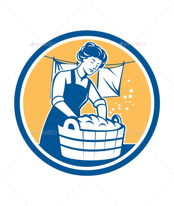 Housewife Washing Laundry Vintage Circle - People Characters