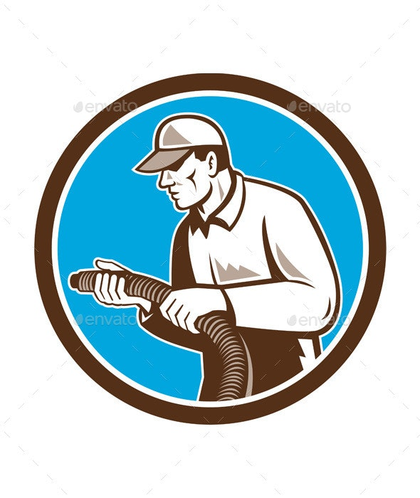 Home Insulation Technician Retro Circle - People Characters