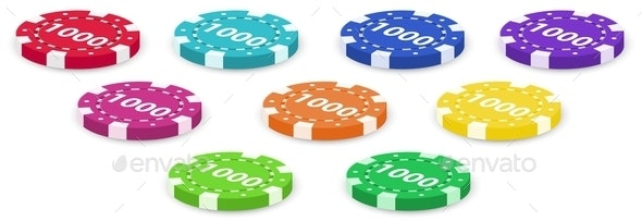 Nine Poker Chips - Man-made Objects Objects