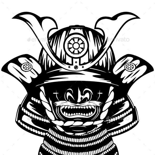 Samurai Helmet Menpo with Yodare-kake