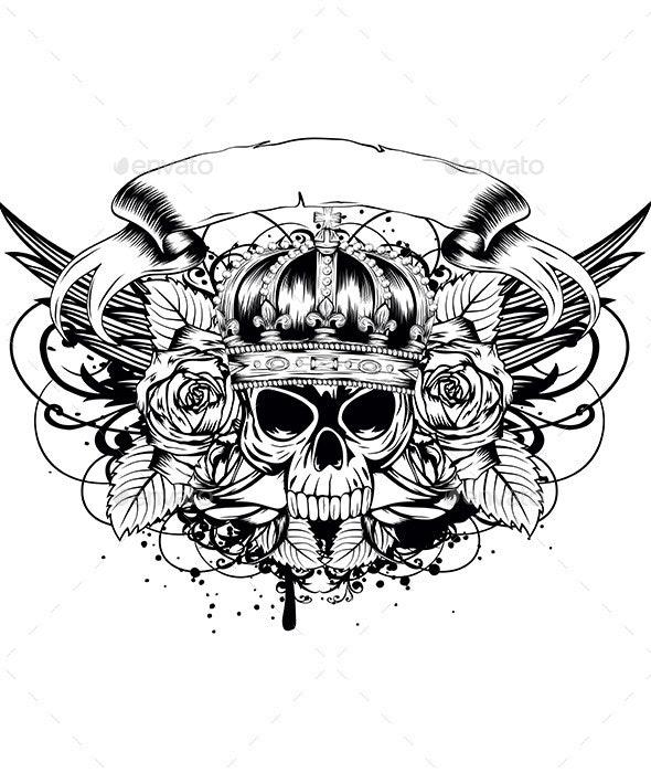 Skull and Roses - Vectors